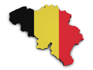 Belgium Flag Map Shape
