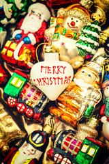 christmas baubles, toys and ornaments. vintage colorful decorati