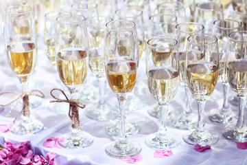Many glasses of wine on table or champagne wedding event