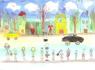 Watercolor children drawing kids preschool Walking