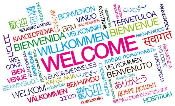 Welcome bienvenue willkommen bienvenido word tag cloud