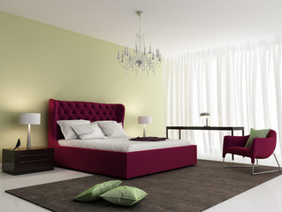Contemporary fresh elegant red bedroom with rug