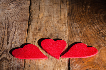 St. Valentine's Heart on a wooden table rural background