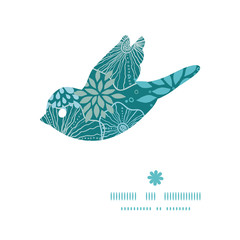 Vector blue and gray plants bird silhouette pattern frame