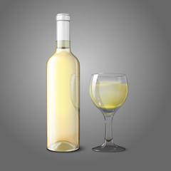 Blank realistic bottle for white wine with glass. Vector