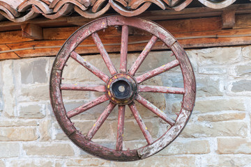 old wagon wheel on the wall