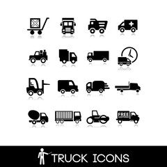 Truck black icon - Set 2