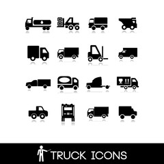 Truck black icon - Set 4