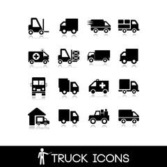 Truck black icon - Set 10
