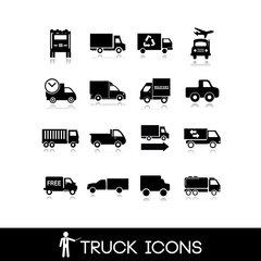 Truck black icon - Set 11