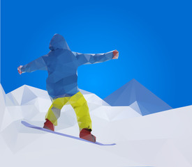 flying snowboarder on mountains, vector