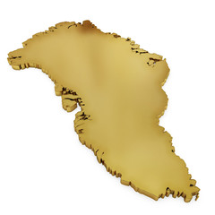 The photorealistic golden shape of Greenland (series)