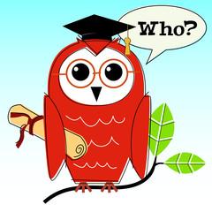 Retro-stylized wise owl graduation illustration