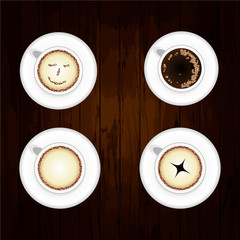 Coffee Pattern With Wood Background