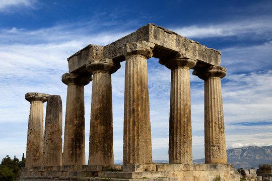 Ruins of Appollo temple in ancient Corinth. Greece.