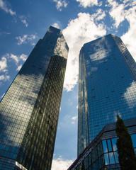 Foto auf Leinwand An der Decke Skyline of business buildings in Frankfurt, Germany