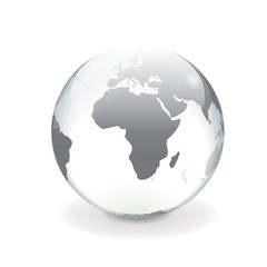 White gray vector world globe - africa