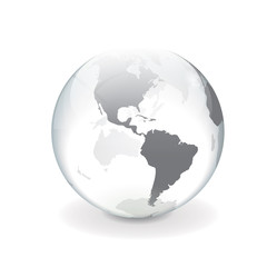 White gray vector world globe - america