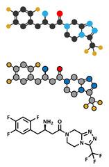 Sitagliptin diabetes drug molecule.