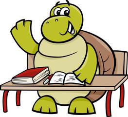 turtle raising hand cartoon illustration