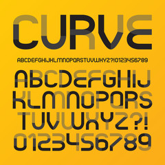Abstract Futuristic Curve Alphabet and Numbers, Editable eps10 V
