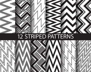 12 black and white  striped patterns