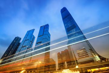 Fotomurales - Office buildings at night in Hong Kong, China.