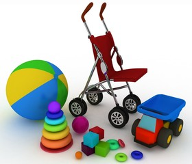3d carriage and children's toys on a white background