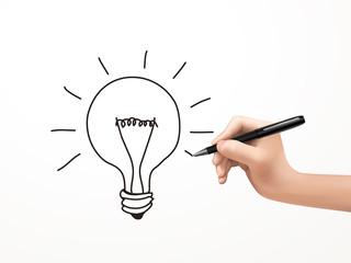 light bulb drawn by human hand