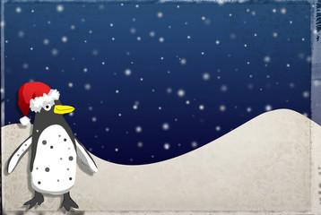 Weihnachtskarte mit Pinguin