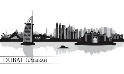 Dubai Jumeirah skyline silhouette background