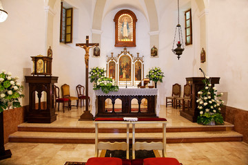 Catholic church interior in Piedmont (Moncucco, Santo Stefano Be