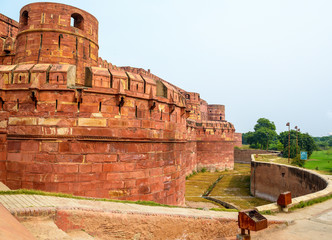 Red fort complex in Agra, India