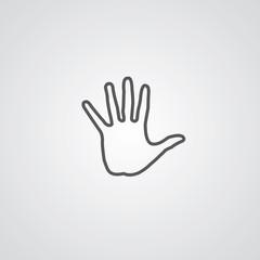 arm outline symbol, dark on white background, logo template.