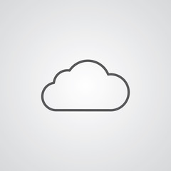 cloud outline symbol, dark on white background, logo template.
