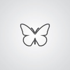 butterfly outline symbol, dark on white background, logo templat
