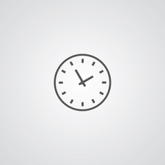 Time outline symbol, dark on white background, logo template.
