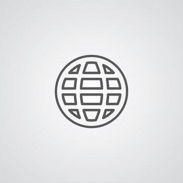 globe outline symbol, dark on white background, logo template.