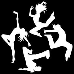 ダンスシルエット(白色背景黒)