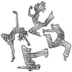 ダンスシルエット(キラキラ流線モノクロ)