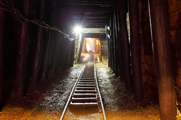 Wall Mural - Mine with railroad track - underground mining