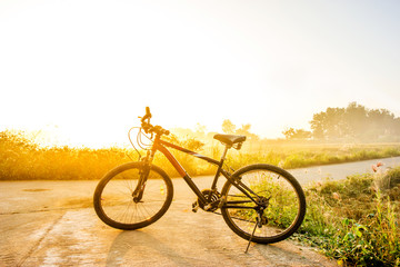 bike in the meadow at sunrise