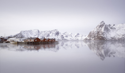 Foto op Aluminium Scandinavië Sunrise over Hamnoy, Norway
