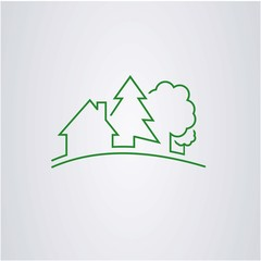 house and nature logo