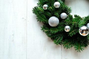 Silver ornament balls Christmas wreath