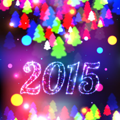 Merry Christmas 2015 celebration concept with xmas tree lights.