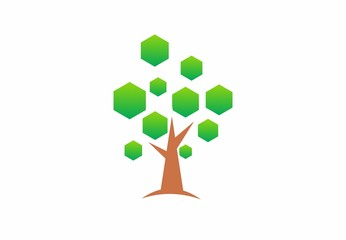 Tree With Polygon Leaves Logo Vector