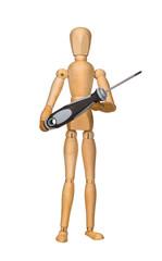 Wooden mannequin holding screwdriver