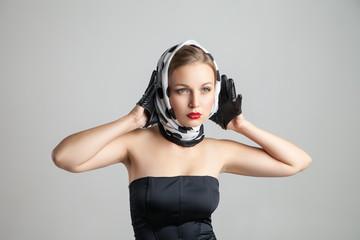 young retro styling caucasian woman posing