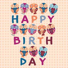 happy birthday card, cute owls.  background
